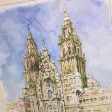 Arte: MAGNIFICA ACUARELA DEL ARTISTA JORGE EUGENIO BANZAS ,CATEDRAL DE SANTIAGO DE COMPOSTELA. Lote 52624508