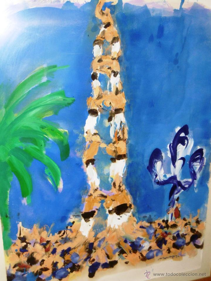 ESPECTACULAR 140 X 100 CMS MONTESOL CASTELLS XIQUETS REUS (Arte - Acuarelas - Contemporáneas siglo XX)