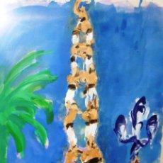 Arte: ESPECTACULAR 140 X 100 CMS MONTESOL CASTELLS XIQUETS REUS. Lote 52675548