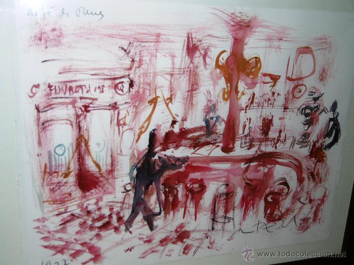 Arte: OPORTUNIDAD... DECORATIVO MONTESOL CAFÉ ANTIGUO DE REUS, EN TONOS ROJOS 84 X 68 CMS - Foto 3 - 52675651