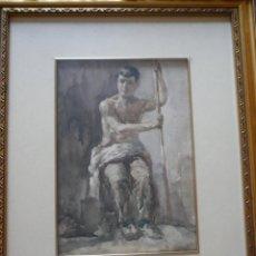Arte: ADOLESCENTE SENTADO. WSELL DE GUIMABARDA. IMPORTANTÍSIMA ACUARELA.. Lote 48679545