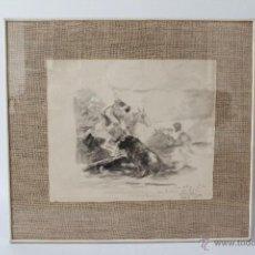 Arte: AGUADA TAURINA EN BLANCO Y NEGRO DE ANTONIO CASERO, 1961. 42 X 35,5.. Lote 52760097