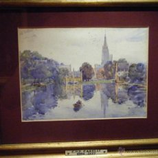 Arte: CONRAD N.R. CARELLI (1869-1935). THE LAC D´AMOUR - BRUGES. 1915. Lote 52924755