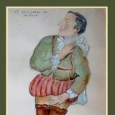 Arte: LLUÍS MORATÓ I GUERRERO. ACUARELA Y GOUACHE. SALARINO DEL MERCADER DE VENECIA. 32 X 21 CM. FIRMADO. Lote 52988682