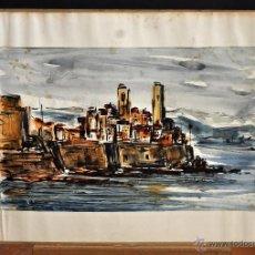 Arte: ILEGIBLE FECHADO DEL 1961. ACUARELA SOBRE PAPEL. PAISAJE. Lote 58164195
