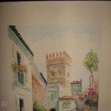 Arte: ACUARELA CON PAISAJE SEVILLANO FIRMADA POR MAXI SEVILLA - LA PINTURA MIDE 42X34 CM (SOLO LO PINTADO). Lote 53175310