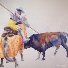 Arte: ACUARELA TOROS. TAUROMAQUIA. Lote 53519328