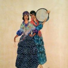 Arte: ACUARELA ORIGINAL FIRMADA SMITH , AÑO 1919, GITANOS,ARTE MODERNISTA-NOUCENTISTA. Lote 53556562