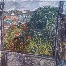 Arte: CLAUDE JOUHANNEAU: BODEGÓN CON VISTA A LA PLESSIS, 1980 / GOUACHE SOBRE PAPEL / FIRMADO A MANO. Lote 53611293
