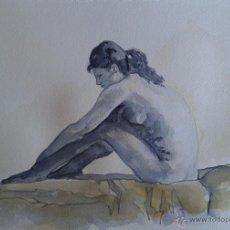 Arte: ACADEMIA. DESNUDO FEMENINO. ACUARELA SOBRE PAPEL. GRAN CALIDAD. TAMAÑO FOLIO.. Lote 53025651