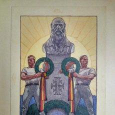 Arte: PROPAGANDA ALEMANA DE LA PRIMERA GUERRA MUNDIAL, ACUARELA ORIGINAL. MUY RARO. Lote 53722167