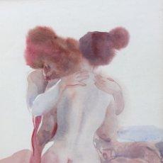 Arte: EL ABRAZO, ACUARELA DE EMILIA CASTAÑEDA. Lote 53792288