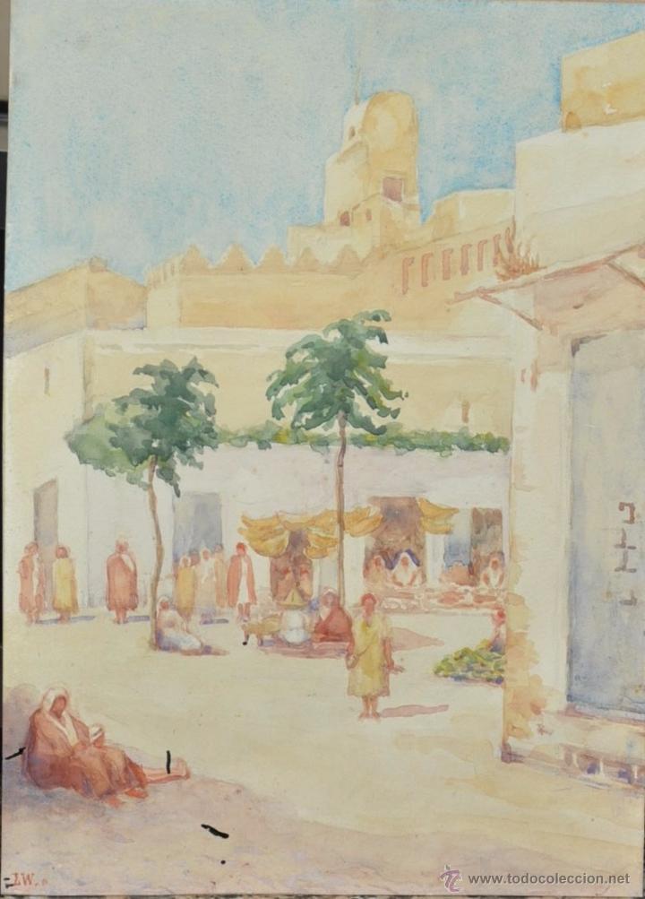 ACUARELA ORIENTALISTA DE 1922 FIRMADA CON INICIALES L .W. TETUAN (Arte - Acuarelas - Contemporáneas siglo XX)