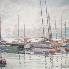 Arte: HUGO STUHL ( 1905 - 1984 ) -- EL PUERTO DE BARCELONA -- ACUARELA FECHADA 1947. Lote 53964445