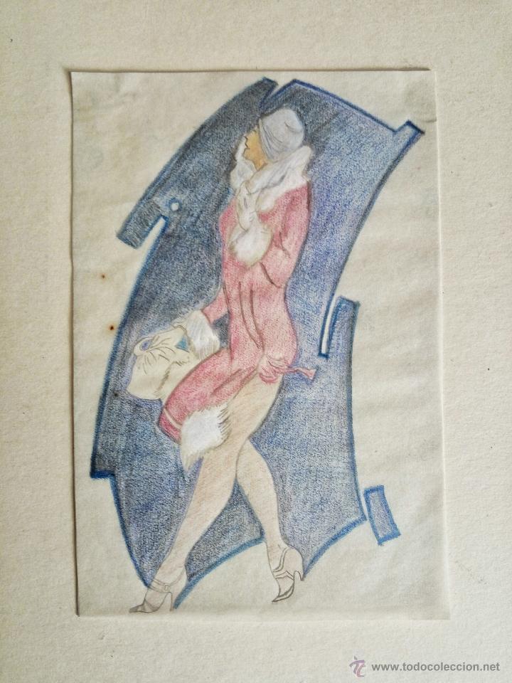 RETRATO ORIGINAL A PASTEL DE UNA JOVEN, ART DECO (Arte - Acuarelas - Contemporáneas siglo XX)