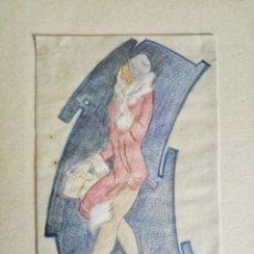 Arte: RETRATO ORIGINAL A PASTEL DE UNA JOVEN, ART DECO. Lote 54097169