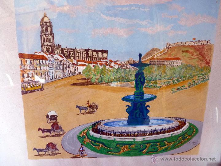 MARAVILLOSA PINTURA ACUARELA NAIF VISTA DE MÁLAGA CATEDRAL FIRMADA (Arte - Acuarelas - Contemporáneas siglo XX)