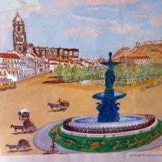 Arte: MARAVILLOSA PINTURA ACUARELA NAIF VISTA DE MÁLAGA CATEDRAL FIRMADA. Lote 54155630