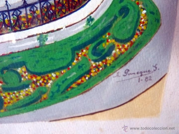 Arte: MARAVILLOSA PINTURA ACUARELA NAIF VISTA DE MÁLAGA CATEDRAL FIRMADA - Foto 4 - 54155630