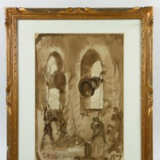 Arte: RICARD CANALS (1876-1931), AGUADA SOBRE PAPEL 21X31 CM. MARCO: 34X42CM.. Lote 54386188