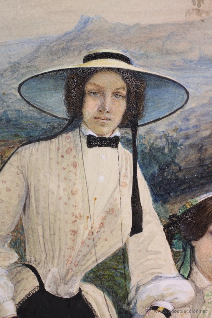 Arte: Retrato en exterior de dos damas, firmado: Bonhomme, año 1851. Muy curiosa pieza. Marco de época. - Foto 2 - 54498703