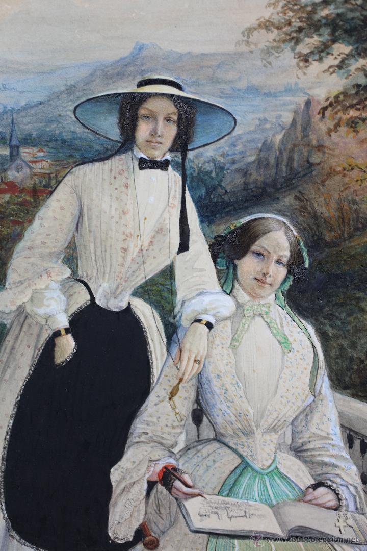 Arte: Retrato en exterior de dos damas, firmado: Bonhomme, año 1851. Muy curiosa pieza. Marco de época. - Foto 3 - 54498703