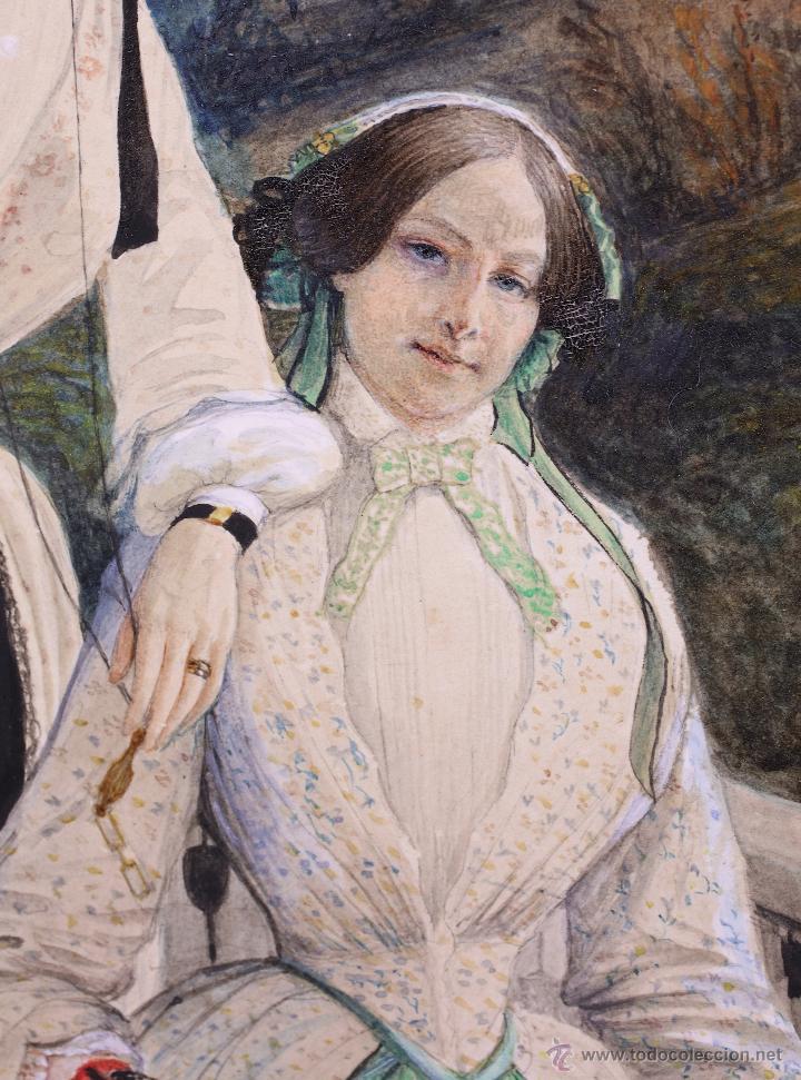 Arte: Retrato en exterior de dos damas, firmado: Bonhomme, año 1851. Muy curiosa pieza. Marco de época. - Foto 4 - 54498703