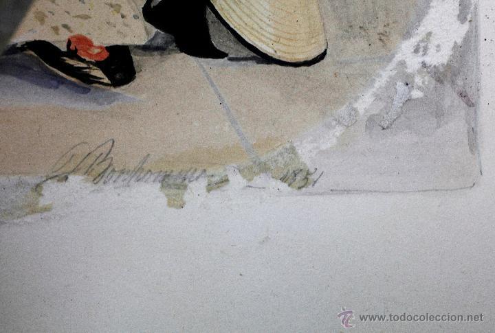Arte: Retrato en exterior de dos damas, firmado: Bonhomme, año 1851. Muy curiosa pieza. Marco de época. - Foto 5 - 54498703