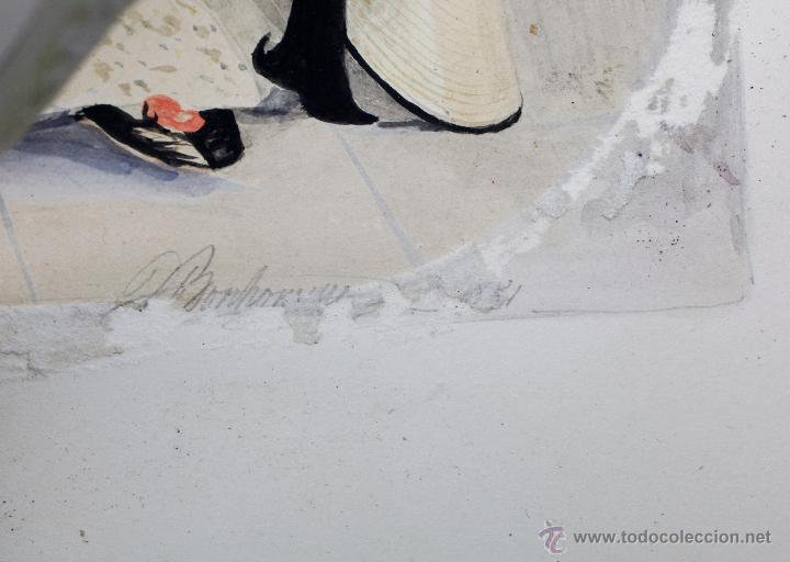 Arte: Retrato en exterior de dos damas, firmado: Bonhomme, año 1851. Muy curiosa pieza. Marco de época. - Foto 6 - 54498703