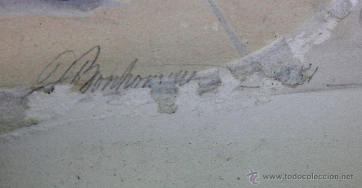 Arte: Retrato en exterior de dos damas, firmado: Bonhomme, año 1851. Muy curiosa pieza. Marco de época. - Foto 7 - 54498703