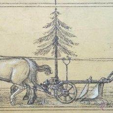 Arte: MARAVILLOSO BOCETO ORIGINAL A CARBONCILLO Y ACUARELA, SIGLO XIX, MEDIDAS: 42 X 26 CM, CALIDAD. Lote 54777704