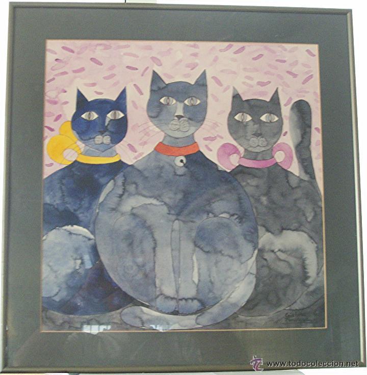 pintura original de cristina fonollosa. 3 gatos - Comprar Acuarelas ...