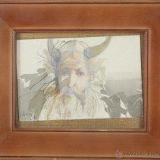 Arte: O2-059. VIKINGO. ACUARELA SOBRE CARTONE. GLAUCO EMANNUELI CAPOZZOLI. 1994.. Lote 54340634