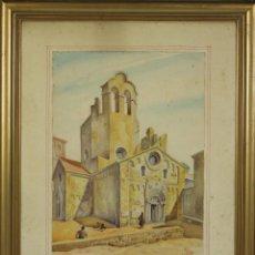 Arte: C1-021. FACHADA DE IGLESIA. ACUARELA SOBRE PAPEL. FIRMADO VALERA. 1948.. Lote 53743159