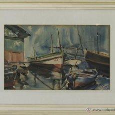 Arte: B1-041. MARINA CON BARCAS. ACUARELA SOBRE PAPEL. FIRMADO FARRENY. 1948.. Lote 52552659