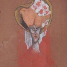 Arte: E3-029 - RETRATO DAMA ART NOUVEAU. DIBUJO Y ACUARELA. R. FOLCH (?) CIRCA 1900. Lote 47815556