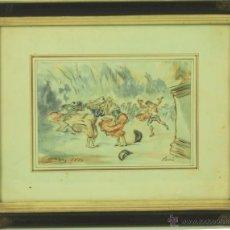 Arte: O1-055 - ESCENA PARISIENSE. ACUARELA A COLOR. PASCUAL ORTEGA PORTALES. CHILE.1874. Lote 47936872
