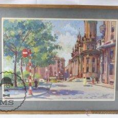 Arte: ACUARELA / GOUACHE SOBRE PAPEL - ENMARCADO - EDIFICIO CORREOS, BARCELONA - SEGURA, 1957 - 62 X 47 CM. Lote 54870304