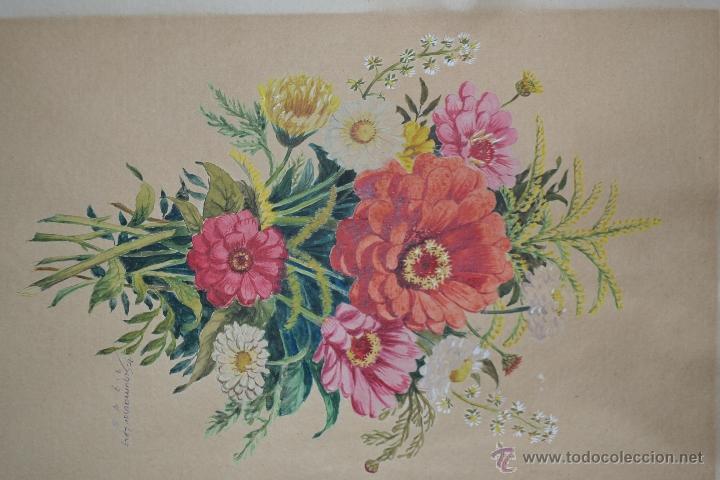 Arte: 1945 - PRECIOSA ACUARELA - FLORES - FIRMADA Y DATADA - Foto 2 - 55002930