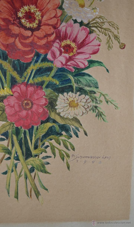 Arte: 1945 - PRECIOSA ACUARELA - FLORES - FIRMADA Y DATADA - Foto 3 - 55002930