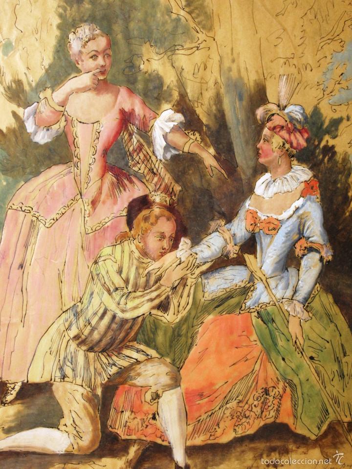 IDEAL SASTRE, SASTRERIA, TIENDA DE ROPA, SENSACIONAL OBRA HISTORICA LOUIS RENE BOQUET 1717-1818 (Arte - Acuarelas - Antiguas hasta el siglo XVIII)