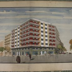 Arte: GR-093. PROYECTO DE EDIFICIO. FIRMADO J.A. MARTINO. ACUARELA. CIRCA 1950. Lote 55111118