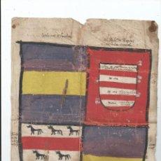 Arte: BELLO ESCUDO MINIADO NAVARRA - LIEDENAS DE LUMBIER PALACIO DE RIPODAS - SIGLO XV Ó XVI - 27X19,5 CM.. Lote 55137828