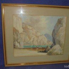 Arte: MARINA, ACUARELA FIRMADA HARRY LEA. MEDIDA CON MARCO 53X63 CM.. Lote 55146922