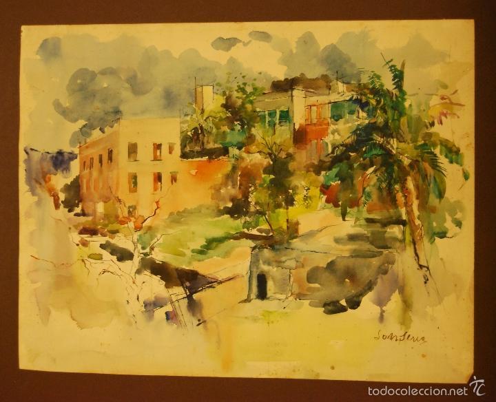 ACUARELA PINTOR JOAN SERRA (Arte - Acuarelas - Contemporáneas siglo XX)