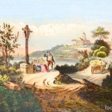 Arte: COMPOSICIÓN CON GRABADO ANTIGUO ENRIQUECIDO. CON ACUARELA Y GOUACHE. ESPAÑA. XIX. Lote 55821276