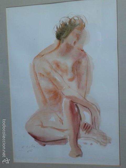 Arte: FRANCISCO DOTRAS (?, CORUÑA, 2014) PINTOR GALLEGO, ACUARELA (45 x 31 cm) - Foto 5 - 55925431