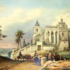 Arte: SANTUARIO EN EL CAMPO. GRABADO ENRIQUECIDO CON ACUARELA Y BARNIZ. ESPAÑA. XIX.. Lote 55929475