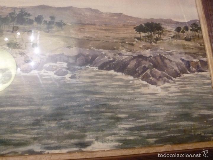 Arte: acuarela paisaje Acuarela.Marina.Fdo:J.Ribot Llupia.Año 1957. - Foto 2 - 55952501