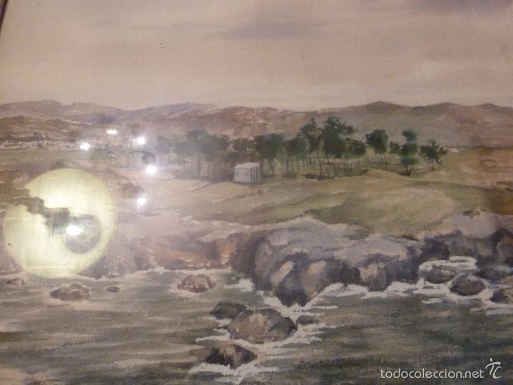 Arte: acuarela paisaje Acuarela.Marina.Fdo:J.Ribot Llupia.Año 1957. - Foto 4 - 55952501